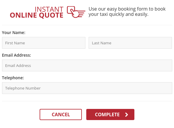 Final part of the booking form asking for the name and phone number